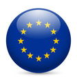 Round glossy icon of european union vector image