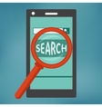 Smart phone with search engine icon vector image