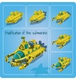 A set of different submarines vector image