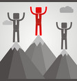 businessman standing on top of mountain success vector image