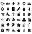 christmas celebration icons set simple style vector image