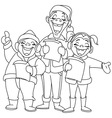 Outlined christmas carolers vector image