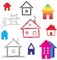 Simple stylized icon of houses vector image