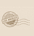 welcome to los angeles usa tourist brown stamp vector image