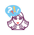 woman portrait icon with speech bubble question vector image