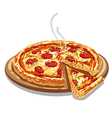 pizza salami on wood board vector image vector image