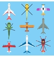 Airplane plane helicopter jet top view flat vector image
