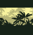 silhouette of palm tree on forest landscape vector image