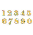 set of floral yellow numbers vector image