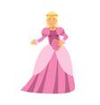 beautiful blonde princess in a pink dress vector image
