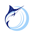 Marlin Fish with Sea Waves vector image