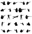 Shooting men silhouette set vector image