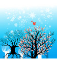 beautiful winter background with trees and vector image