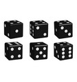 dice black set in 3d view vector image