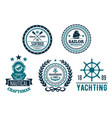 set of nautical anchor or marine helm icons vector image
