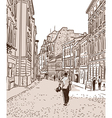The ancient European foot street paved by a stone vector image