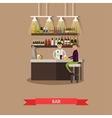 Visitors drink beer in a bar Restaurant interior vector image