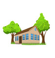 wooden house with trees vector image