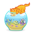 Cat looking into aquarium with fish vector image
