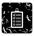 Clipboard with checklist icon grunge style vector image