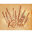 meat cutting knifes poster craft vector image