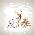 Christmas grunge background with deer vector image