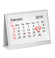 Calendar with hand written red heart February 14 vector image vector image