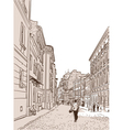 The ancient European foot street paved by a stone vector image vector image