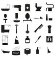 bath accessories set black icon on white vector image