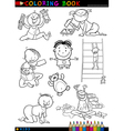 cartoon cute babies for coloring vector image