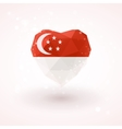 Flag of Singapore in shape diamond glass heart vector image