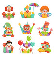 funny cartoon friendly clowns character colorful vector image