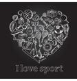 I love sport hand drawn doodle set vector image