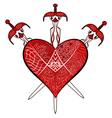 Red Valentines Day heart and three swords vector image