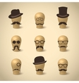 Set of retro mustaches hats and glasses vector image