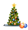 Christmas Tree on Tablet PC vector image