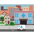 Cartoon Street Hospital Stylish Background Retro vector image