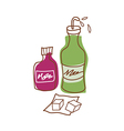 Two bottle are placed vector image