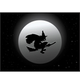 Scary witch flying on broom by moon vector image
