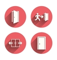 Doors signs Emergency exit with arrow symbol vector image