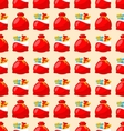 Happy New Year seamless pattern bagful with gifts vector image