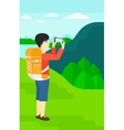 Backpacker taking photo vector image vector image