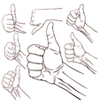 Set of seven hands vector image vector image
