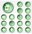 abstract green round paper icon set vector image