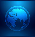 Blue earth on wireframe network mesh digital vector image