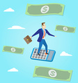 Businessman flying with paper money and clouds on vector image