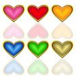 set of multicoloured hearts vector image