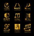 shiny golden music logos set vector image