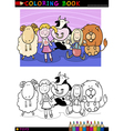 Cartoon cute toys for coloring vector image
