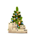 Christmas Tree with Cardboard Boxes vector image